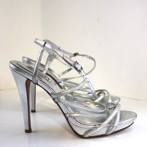 Badgley Mischka Shoes - Badgley Mischka Silver Strappy Sexy Stilettos